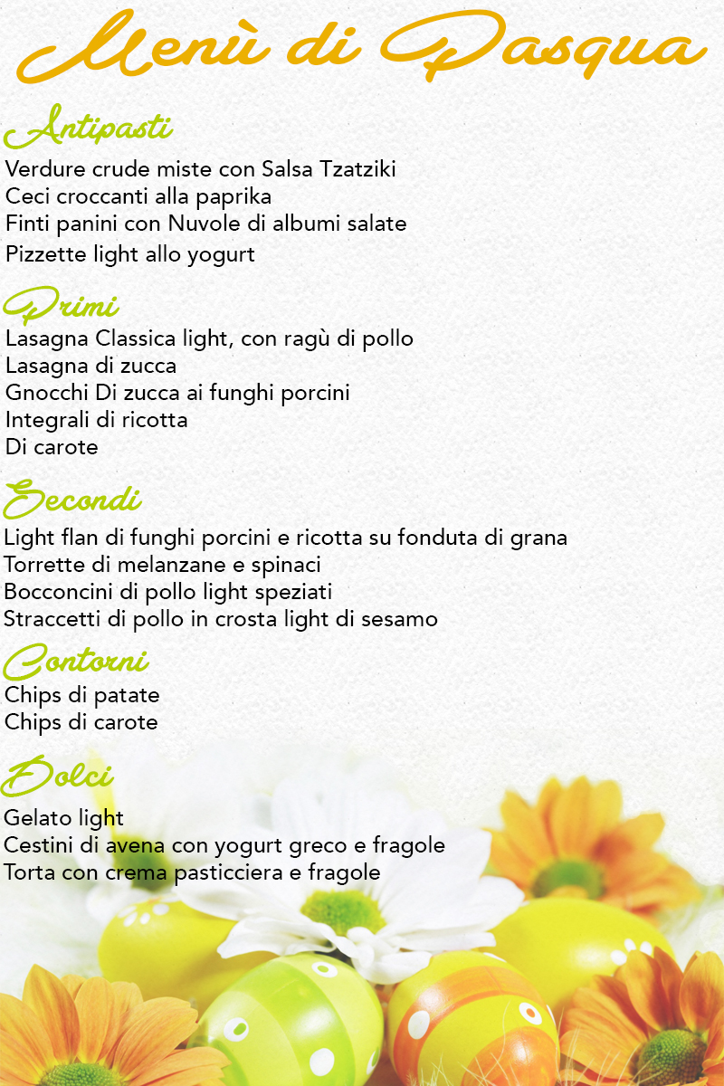Menù di Pasqua light